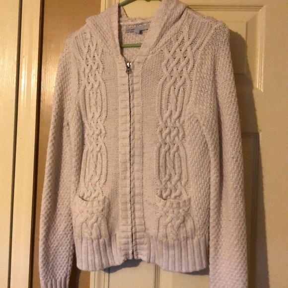 Old Navy Sweaters - Cream hooded zip up sweater with pockets